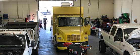 medium sized truck being repaired at S.E. Smith & Sons